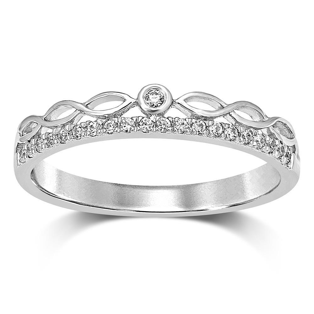 1//10 cttw, G-H,I2-I3 Size-9 Diamond Wedding Band in 10K White Gold